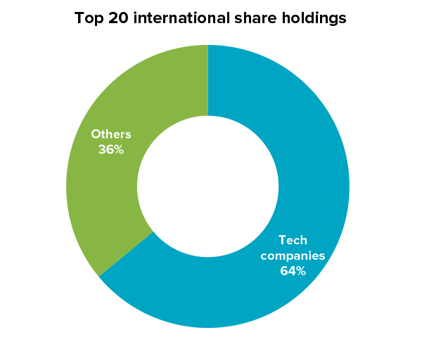 Top 20 international share holdings