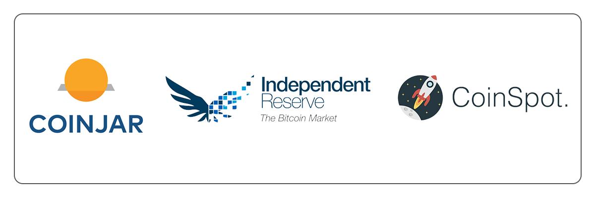 coinjar logo, independent reserve logo, coinspot logo